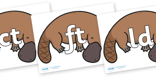 Final Letter Blends on Platypus - Final Letters, final letter, letter blend, letter blends, consonant, consonants, digraph, trigraph, literacy, alphabet, letters, foundation stage literacy