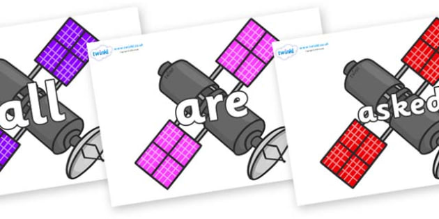 Tricky Words on Satellites - Tricky words, DfES Letters and Sounds, Letters and sounds, display, words