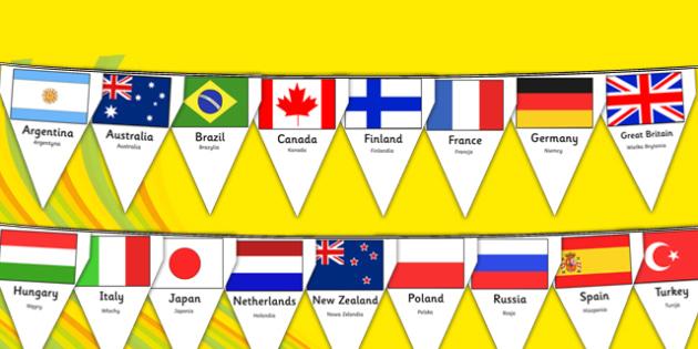 Rio Olympics 2016 Country Flags Bunting Polish Translation - polish, rio olympics, 2016 olympics, country, flags, bunting, display