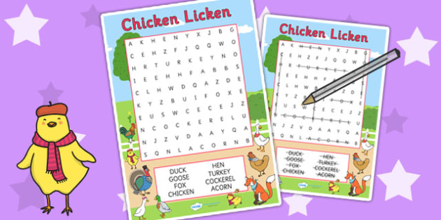 Chicken Licken Wordsearch - word search, stories, story books