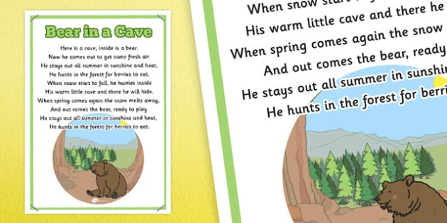 Bear in a Cave Rhyme Poster - bear, cave, rhyme, poster, display