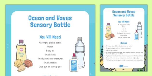 Ocean and Waves Sensory Bottle - ocean, waves, sensory bottle, sensory