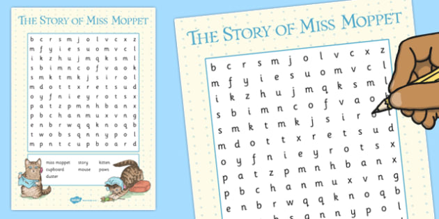 The Story of Miss Moppet Wordsearch - miss moppet, wordsearch, activity, word, search, beatrix potter