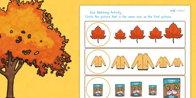 Autumn Size Matching Worksheets - seasons, weather, sort, match
