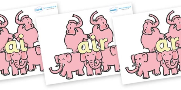 Phase 3 Phonemes on Five Elephants - Phonemes, phoneme, Phase 3, Phase three, Foundation, Literacy, Letters and Sounds, DfES, display