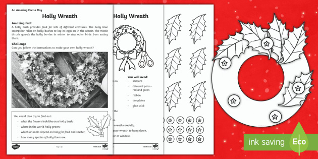 Make A Holly Wreath Activity Sheet - Amazing Fact Of The Day, activity sheets, PowerPoint, starter, morning activity, December, Christmas