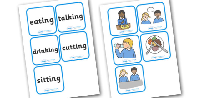 Lunchtime Action Cards - lunchtime, lunch, snack time, break, food, action, cards, flashcards