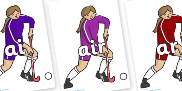 Phase 3 Phonemes on Hockey Players - Phonemes, phoneme, Phase 3, Phase three, Foundation, Literacy, Letters and Sounds, DfES, display
