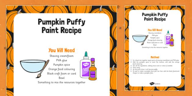 Pumpkin Puffy Paint Recipe - food, halloween, vegetable, art, design, early years