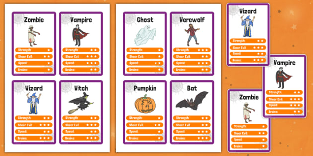 Halloween Character Card Game - halloween, top trump, cards, halloween activities, halloween games, playing cards, games, activities, classroom games