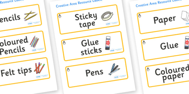 Penguin Themed Editable Creative Area Resource Labels - Themed creative resource labels, Label template, Resource Label, Name Labels, Editable Labels, Drawer Labels, KS1 Labels, Foundation Labels, Foundation Stage Labels