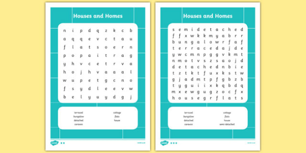 Houses and Homes Word Search - houses and homes, wordsearch, houses and homes wordsearch, houses and homes keywords, houses and homes themed