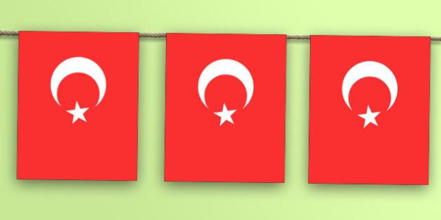Turkey Flag Bunting - nation, international, geography, culture, display, europe, olympics