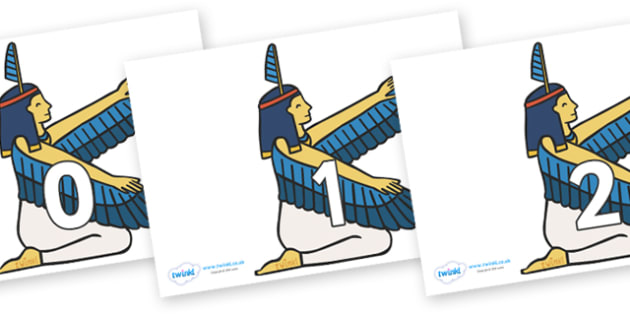 Numbers 0-50 on Egyptian - 0-50, foundation stage numeracy, Number recognition, Number flashcards, counting, number frieze, Display numbers, number posters