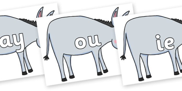 Phase 5 Phonemes on Hullabaloo Donkey to Support Teaching on Farmyard Hullabaloo - Phonemes, phoneme, Phase 5, Phase five, Foundation, Literacy, Letters and Sounds, DfES, display