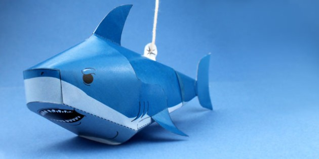 Paper Craft Shark (Under the Sea) - crafts, craft activities, fine motor skills