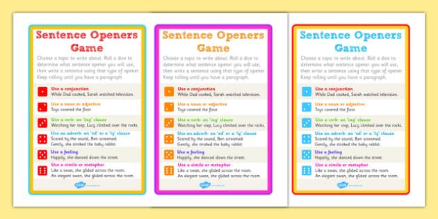 Sentence Openers Dice Activity - game, activity, sentence openers, sentences, sentence help, literacy, dice game, dice activity, sentences dice game, games, fun
