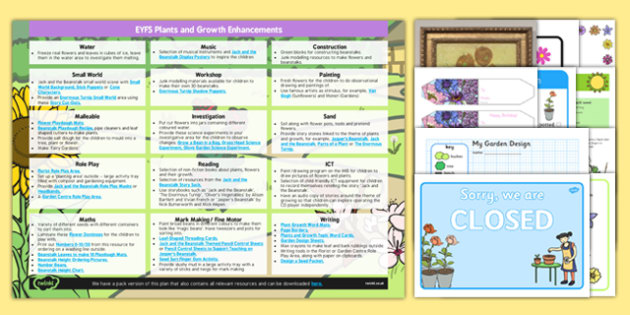 EYFS Plants and Growth Enhancement Ideas and Resources Pack