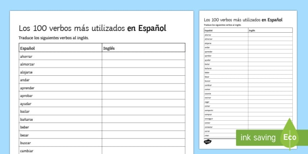 100 High Frequency Verbs 1 Activity Sheet Spanish