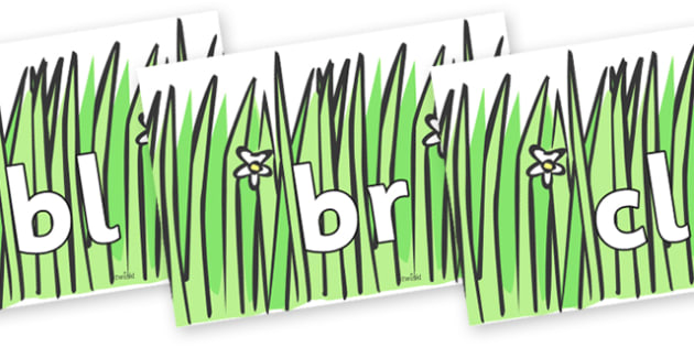 Initial Letter Blends on Wavy Grass - Initial Letters, initial letter, letter blend, letter blends, consonant, consonants, digraph, trigraph, literacy, alphabet, letters, foundation stage literacy