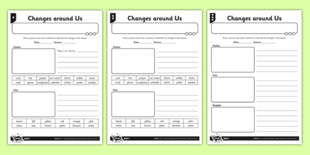 Differentiated Seasonal Changes Around Us Activity Sheet - seasonal changes, trees, clothes, worksheet