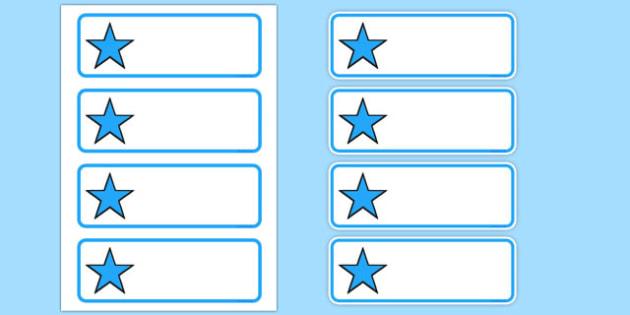Editable Blue Stars Drawer, Peg, Name Labels - Editable Label Templates, star, stars, Resource Labels, Name Labels, Editable Labels, Drawer Labels, Coat Peg Labels, Peg Label, KS1 Labels, Foundation Labels, Foundation Stage Labels, Teaching Label