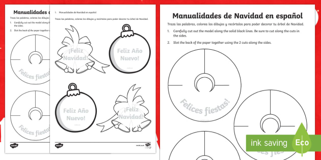 Christmas Crafts Activity Sheet English/Spanish
