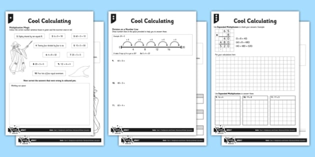 Year 3 Multiplication and Division Calculation Activity Sheet Pack - calculation, arithmetic, formal written method, bus stop method, grid method, short multiplication, expanded multiplication, differentiated activity, worksheet