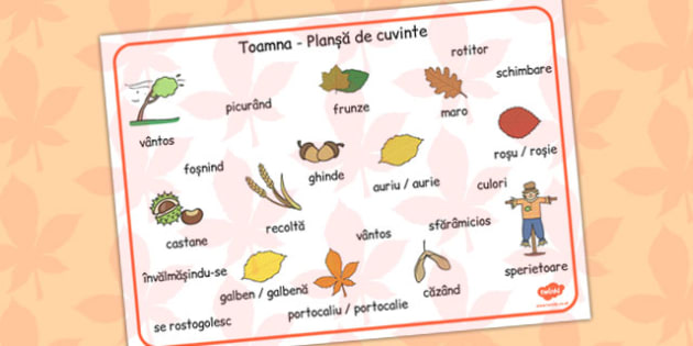 Autumn Word Mat Romanian