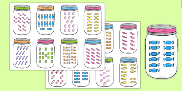 Sweets In Jar Subitising Cards 10-20 - sweets in jar, subitising cards, subitising, 10-20, sweets, jar
