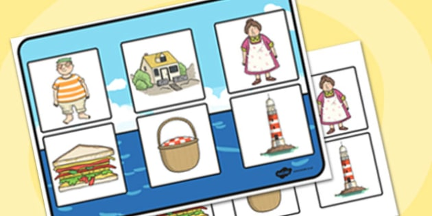 Matching Cards and Board to Support Teaching on The Lighthouse Keeper's Lunch - the lighthouse keepers lunch matching game, the lighthouse keepers lunch picture matching activity