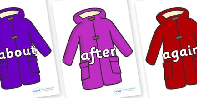 KS1 Keywords on Coats - KS1, CLL, Communication language and literacy, Display, Key words, high frequency words, foundation stage literacy, DfES Letters and Sounds, Letters and Sounds, spelling