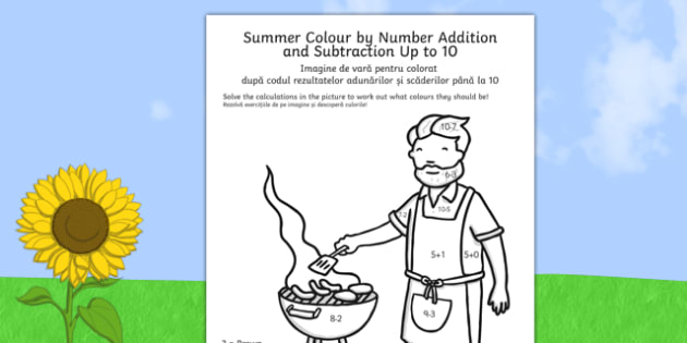 Summer Colour by Number Addition and Subtraction Up to 10 Romanian Translation - romanian, summer, colour by number, addition, subtraction