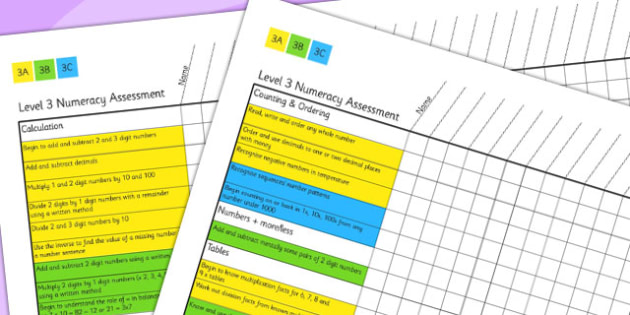 Level 3 Numeracy Assessment - numbers, maths, assessment, level 3