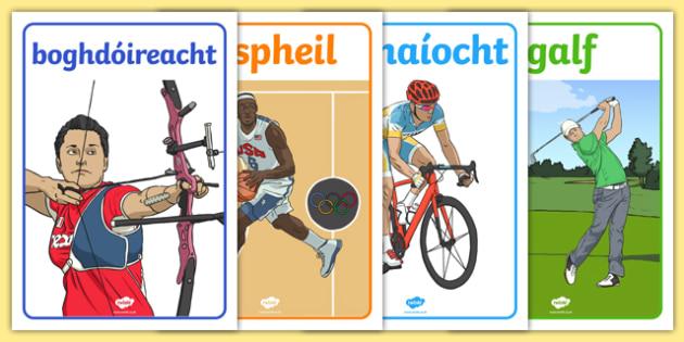 Rio 2016 Olympics Irish Gaeilge Event Display Posters - Irish, Gaeilge, display, posters, sports, Olympics, rio