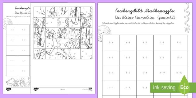 Das Kleine Einmaleins (gemischt) Faschingspuzzle Aktivität - Karneval, Fasching, Fastnacht, Puzzle, Mathepuzzle, Bildpuzzle, Anmalbilder, Das Kleine Einmaleins,