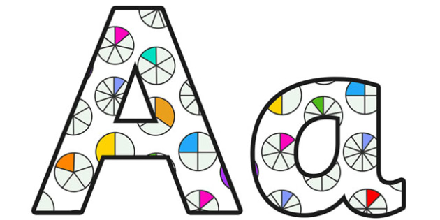 Fractions Display Lettering Small - fractions, fractions lettering, fractions letters, fractions alphabet, fractions themed lettering, pie charts lettering