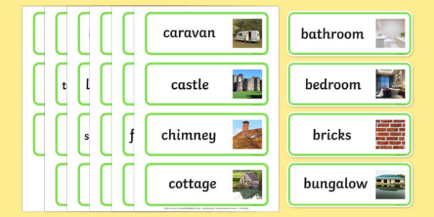 Houses and Homes Topic Word Cards - house, home, building, Word Card, flashcard, flashcards, brick, stone, detached, terraced, bathroom, kitchen, door, caravan, where we live, ourselves