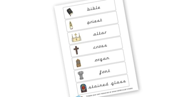 Church Themed Labels - Christianity, Literacy,  Primary Resources, religion, faith, chri