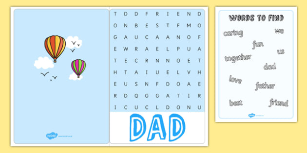 Father's Day Wordsearch Card - dad, father, greeting cards, words