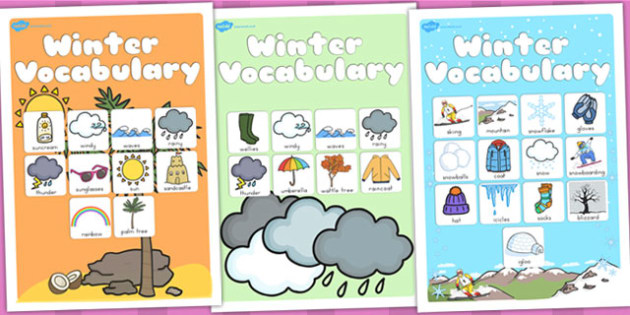 Winter Vocabulary Poster Temperate - vocab, seasons, weather