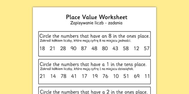 Place Value Worksheet 2 Digits Polish Translation - polish, place value, worksheet, 2 digits