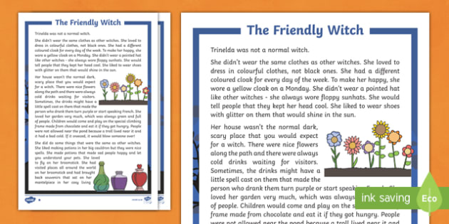 The Friendly Witch Differentiated Halloween Spooky Story