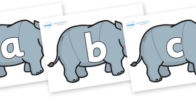 Phoneme Set on Rhinos - Phoneme set, phonemes, phoneme, Letters and Sounds, DfES, display, Phase 1, Phase 2, Phase 3, Phase 5, Foundation, Literacy