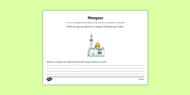 Islam Mosque Mind Map Activity Sheet - islam, mosque, mind map, activity, worksheet