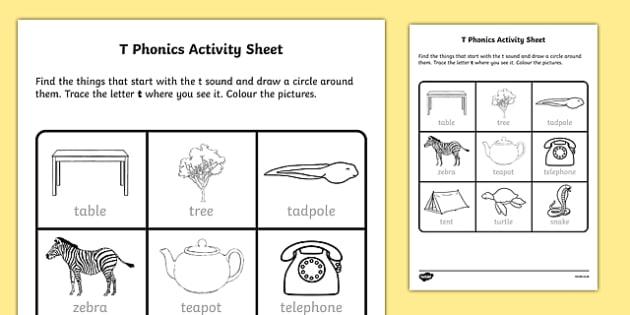 t Phonics Activity Sheet-Irish, worksheet