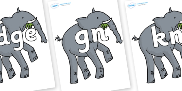 Silent Letters on Trunky The Elephant to Support Teaching on The Enormous Crocodile - Silent Letters, silent letter, letter blend, consonant, consonants, digraph, trigraph, A-Z letters, literacy, alphabet, letters, alternative sounds