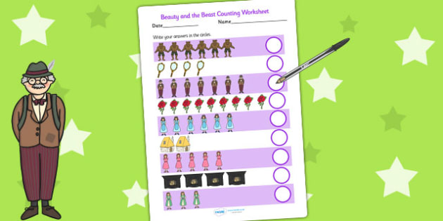 Beauty and the Beast Counting Sheet - count, counting aid, maths