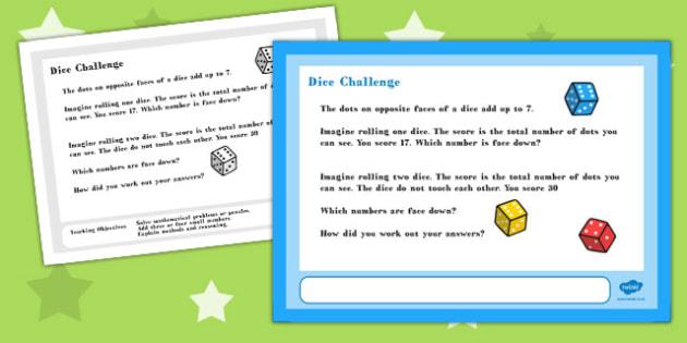 A4 Dice Maths Challenge Poster - challenge, poster, maths, a4