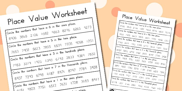 Place Value Worksheets 4 Digits - australia, place value, worksheets